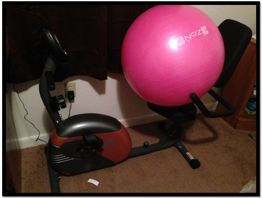 I know I shared this picture in my last post, but I'm just so stinkin' excited about my bike and balance ball!